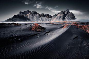 Wallpaper Grayscale Photo Of Desert, Iceland, Landscape