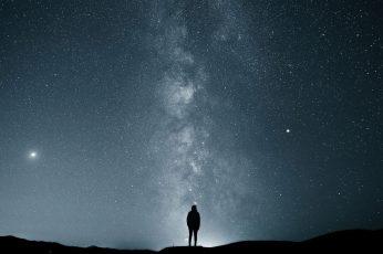 Wallpaper Man Silhouette, Stars, Sky, Milky Way, Alone