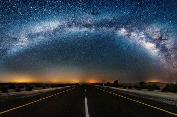 Wallpaper Milky Way Galaxy, Night Sky, Starry Night, Road
