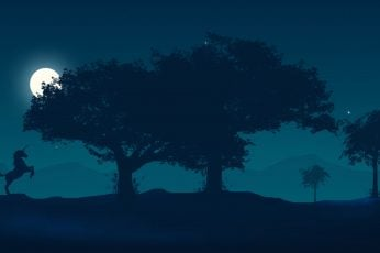 Wallpaper Moonlight, Fantasy, Tree, Luminos, Luna, Unicorn