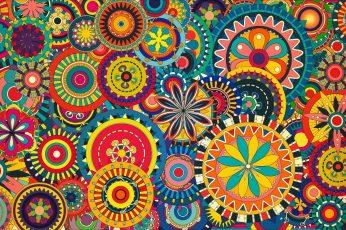 Wallpaper Multicolored, Floral, Art, Colorful, Digital Art