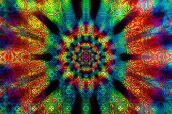 Wallpaper Multicolored Mandala, Psychedelic
