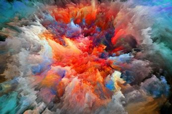 Wallpaper Multicolored Smoke Painting, Colorful, Watercolor