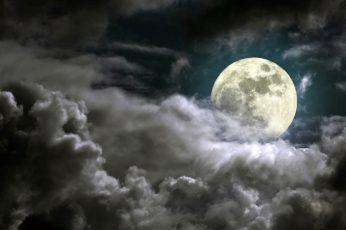 Wallpaper Nature, Full Moon, Dark, Moonlight, Sky, Clouds