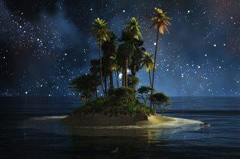 Wallpaper Nature, Water, Sky, Atmosphere, Darkness, Island