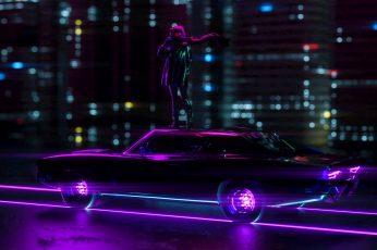 Wallpaper Neon Lights, Digital Art, Artwork, Dark, Car