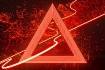 Wallpaper Neon, Red, Line Art, Lines, Triangle, Floating