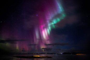 Wallpaper Northern Lights, Iceland, Holiday, Hofn, Northern