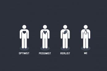 Wallpaper Optimist, Pessimist, Realist, Me Illustration