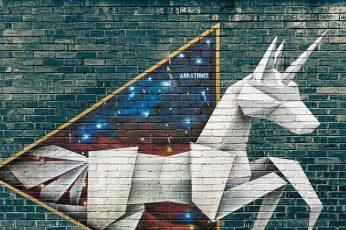 Wallpaper Unicorn, Art, Grafitti, Paper, Wall, Day