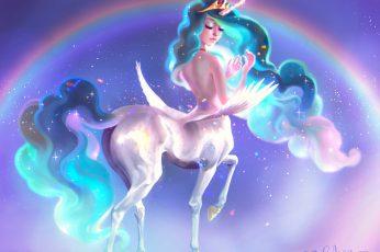 Wallpaper Pauline Voß, Horse, Rainbows, Unicorn, Fantasy