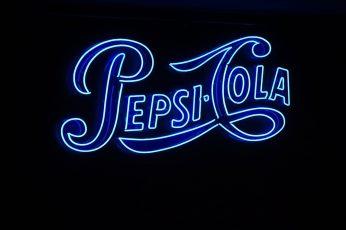 Wallpaper Pepsi Cola Signag, Text, Neon, Blue, Black