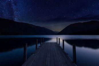 Wallpaper Pier, Sky, Reflection, Water, Night Sky, Lake