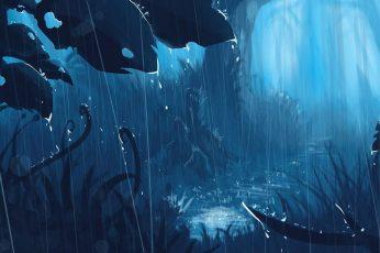 Wallpaper Raindrops Painting, Anime, Landscape, Fantasy Art