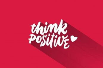 Wallpaper Think Positive, Red Background, Typo, Typography