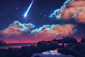 Wallpaper Shooting Star Digital Art, Shooting Star Painting