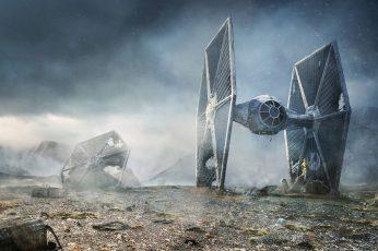 Wallpaper Star Wars Illustration, Tie Fighter, C 3po, R2