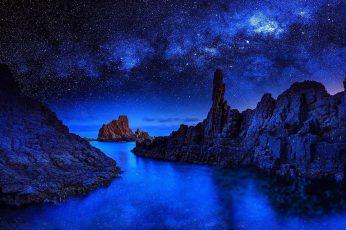 Wallpaper Starry, Stars, Sea, Water, Reflection, Landscape