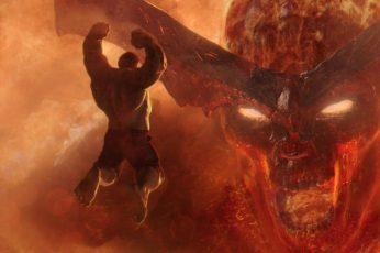 Wallpaper Thor Ragnarok, Hulk, Jumping, Surtur, Fire