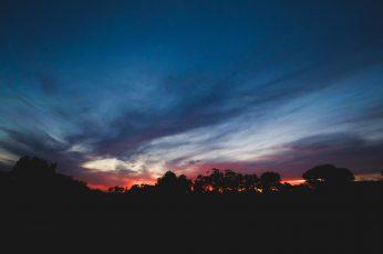 Wallpaper Trees During Sunrise, Silhouette, Dark, Sky