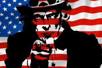 Wallpaper Uncle Sam In Front Of American Flag, 4th Of July