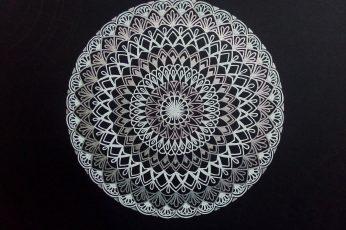 Wallpaper White And Black Floral Illustration Mandala