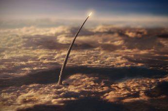 Wallpaper White Rocket, Rocket Illustration, Space, Nasa