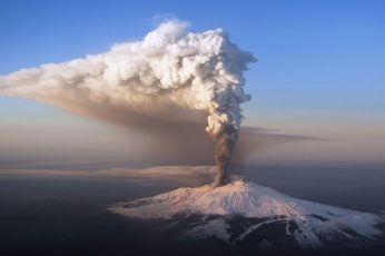 Wallpaper White Smoke, Erupted Volcano, Sky, Snow, Forest