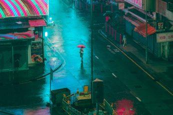 Wallpaper Yau Ma Tei Rain, Urban, Typhoon, Dystopium