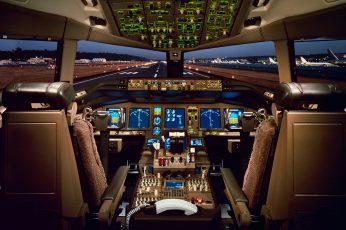Wallpaper Aircraft Cockpit Illustration, 777, Airliner