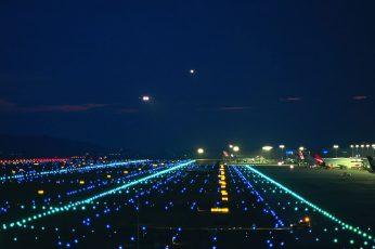 Wallpaper Airport Runway, Lights, Night, Airplane, Illumine