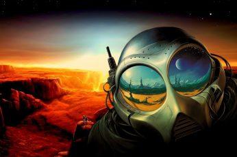 Alien Digital Wallpaper, Suits, Space, Planet