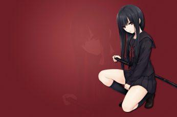 Wallpaper Anime, Anime Girls, Katana, School Uniform