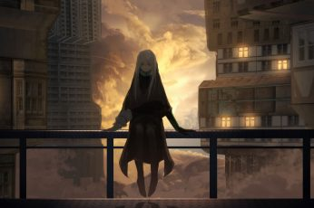 Wallpaper Anime Girl, Buildings, Clouds, Depressed Express