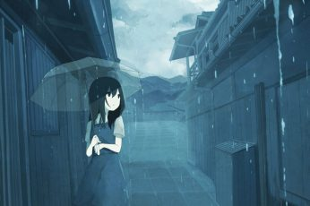 Wallpaper Anime Girls, Rain, Umbrella, City, One Person