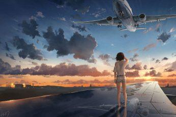 Wallpaper Anime, Original, Airplane, Cloud, Girl, Reflection