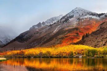 Wallpaper Apple Mac Os X High Sierra, Brown And Red Mountain
