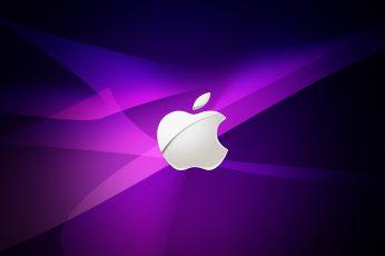 Wallpaper Apple, Purple And Silver Apple Logo Wallpaper