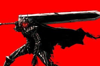 Wallpaper Armored, Guts, Berserk, Red Background, Black