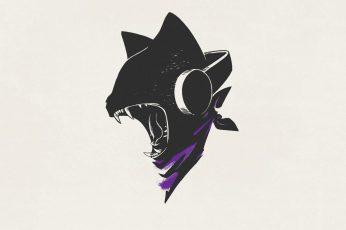 Wallpaper Black Cat Wearing Headphones Illustration, Monster