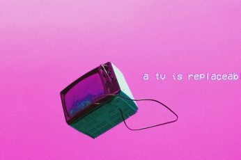 Wallpaper Black Crt Tv, Vaporwave, Pink Background, Depressed