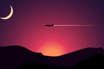 Wallpaper Black Plane Illustration, Airplane Above Mountain