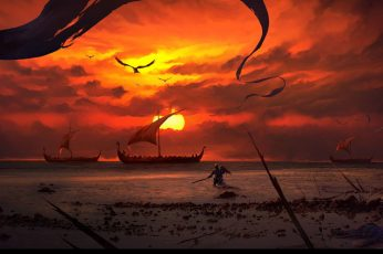Wallpaper Boats And Sunset Wallpaper, Digital Art, Artwork
