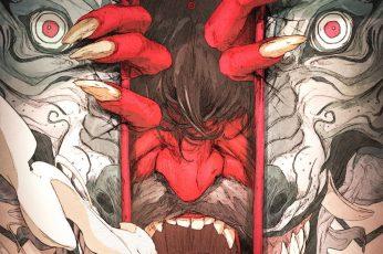 Wallpaper Chun Lo, Artwork, Digital, Demon, Red Eyes