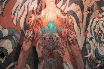 Wallpaper Chun Lo, Demon, Tiger, Tattoo, Men, White Tigers
