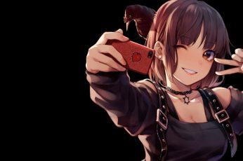 Wallpaper Female Anime Character Holding Smartphone