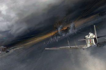 Fighter Plane And Cloudy Sky Wallpaper, World War