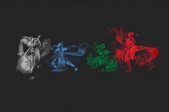 Wallpaper Four Assorted Color Gesturs Illustration, Avatar
