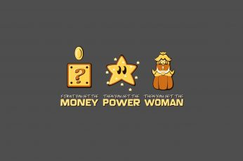 Wallpaper Funny Super Mario Steps, Money Power Woman