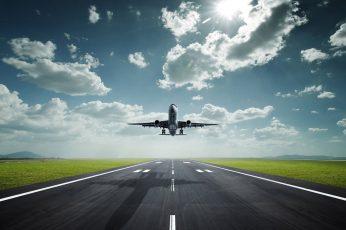 Wallpaper Gray And White Plane, Airplane, Landing, Sky